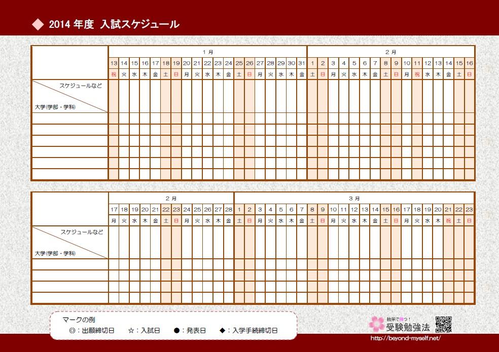 2014年度受験スケジュール